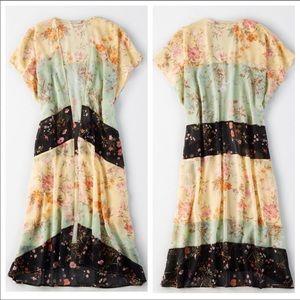 AEO Boho Floral Patchwork Duster Kimono
